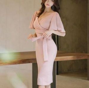 Size large,  pencil dress, blush, flutter sleeved